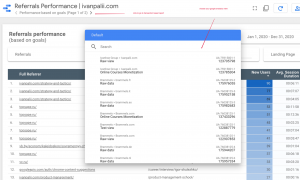 choose data source to get report for referral links